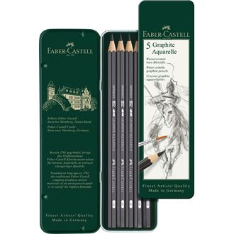 Faber-Castell - 水彩グラファイト 5硬度デザイン缶